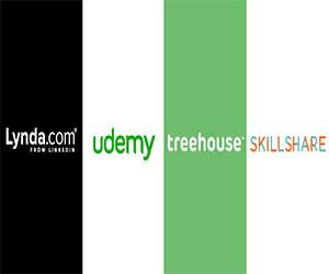 Udemy, Lynda, Treehouse, Skillshare